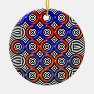 Circles, circles everywhere ceramic ornament