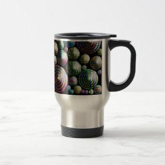 Circles Colorful 3D pattern on black Mugs