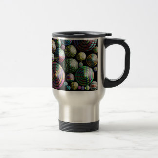 Circles Colorful 3D pattern on black Travel Mug