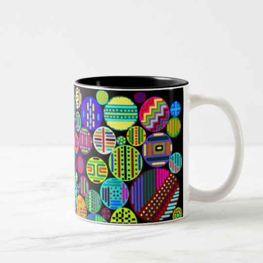 Circles Colorful Patterns on Black Background Two-Tone Coffee Mug