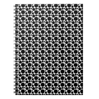 Circles & Dots in 7 Sizes: Repeating Black & White Notebook