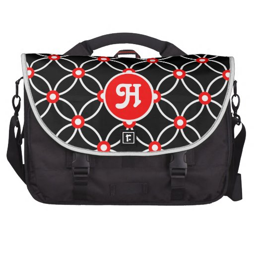 Circles & Dots-White & Red Bags For Laptop