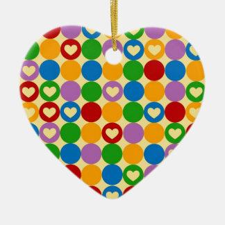 Circles & Hearts Ceramic Ornament
