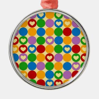 Circles & Hearts Metal Ornament