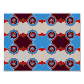 circles in blue and brown poster print