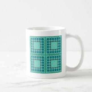 Circles in green quilt coffee mug