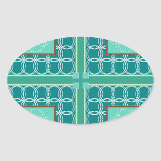 Circles in green quilt oval sticker