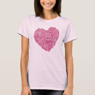 Circles in my heart Love not hate pink t-shirt
