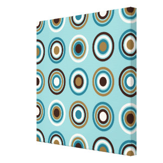 Circles in Rings Big Ptn Teals Brown Cream Gold Canvas Print