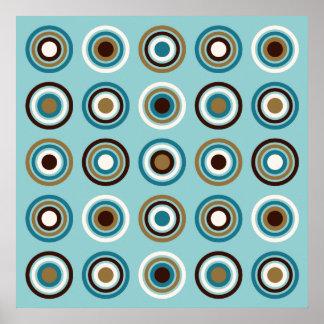 Circles in Rings Big Ptn Teals Brown Cream Gold Poster