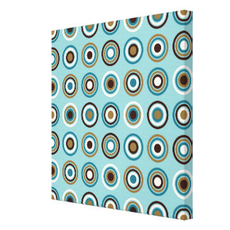 Circles in Rings Ptn Teals Brown Cream Gold Canvas Print