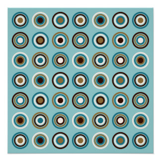 Circles in Rings Ptn Teals Brown Cream Gold Poster