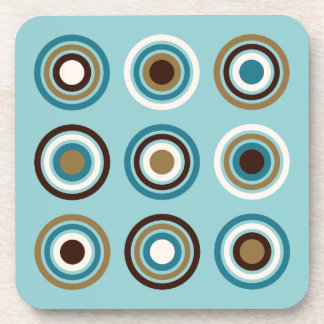 Circles in Rings Teals Brown Cream Gold Beverage Coaster
