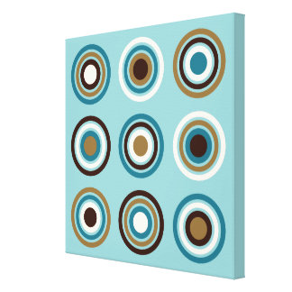 Circles in Rings Teals Brown Cream Gold Canvas Print