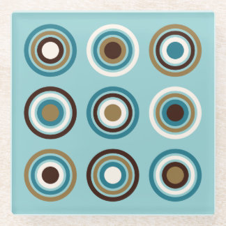 Circles in Rings Teals Brown Cream Gold Glass Coaster