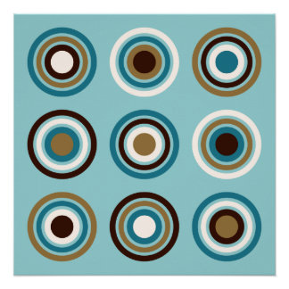 Circles in Rings Teals Brown Cream Gold Poster