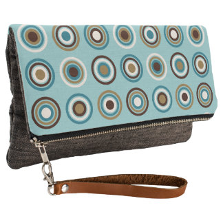 Circles in Rings Teals Brown Cream Gold Ptn Clutch