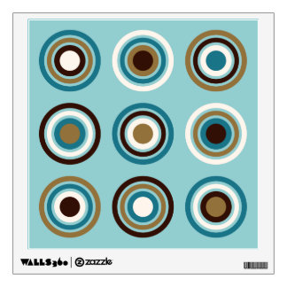 Circles in Rings Teals Brown Cream Gold Wall Sticker