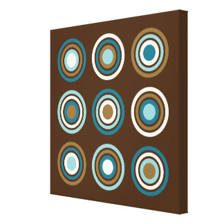 Circles in Rings Teals Cream Gold on Brown Canvas Print