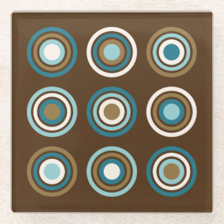 Circles in Rings Teals Cream Gold on Brown Glass Coaster