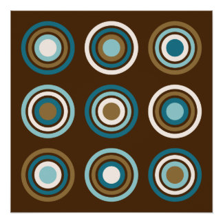 Circles in Rings Teals Cream Gold on Brown Poster
