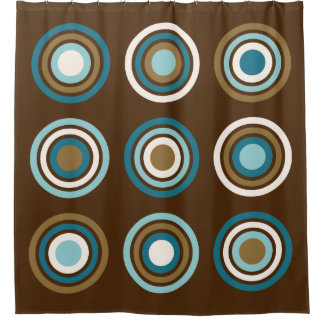 Circles In Rings Teals Cream Gold On Brown Shower Curtain