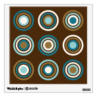 Circles in Rings Teals Cream Gold on Brown Wall Decal