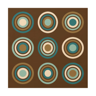 Circles in Rings Teals Cream Gold on Brown Wood Print