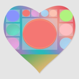 Circles in Squares : Full of Life Shades Pattern Heart Sticker