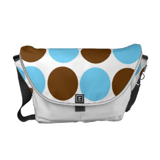 Circles - light blue and brown round design courier bag