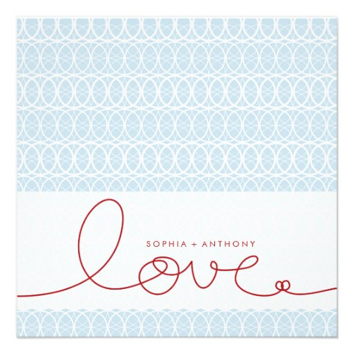 Circles + Love Sky Blue Custom Wedding Invitation Custom Invite