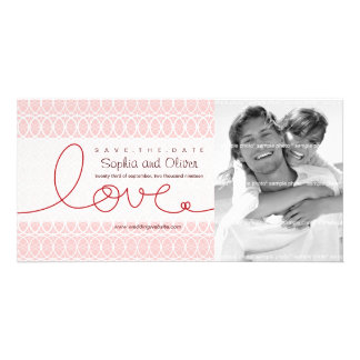 Circles + Love Sweet Pink Save The Date Photo Card Photo Greeting Card