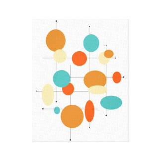 """Circles Midcentury Modern 11"""" x 14"""" Wrapped Canvas"""