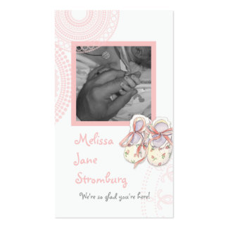 Circles 'n Booties, Baby Girl Shower Invitation Business Card