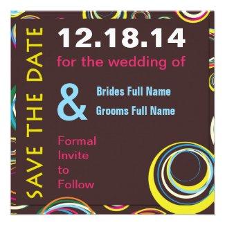 Circles n Circles Wedding Save the Date Card Custom Invitations