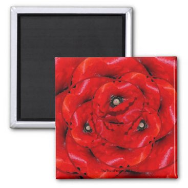 Circles of Red Poppies Fridge Magnet
