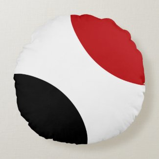 Red Black and White Circle Round Toss Pillow
