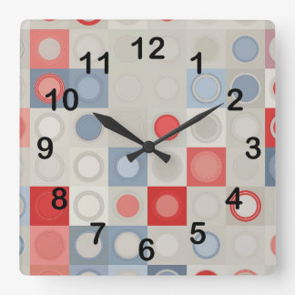 Circles pattern square wall clock