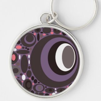 Circles Pink on Purple, Mod Groovy, template Silver-Colored Round Keychain