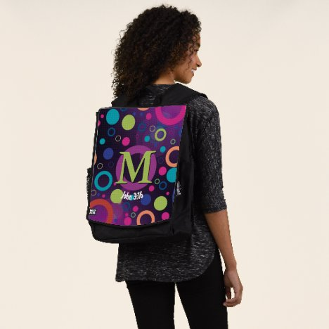 Circles Scripture Monogram Personalized Purple Backpack