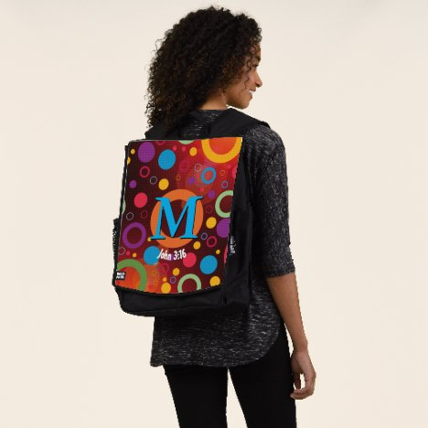 Circles Spots Dots Scripture Monogram Personalized Backpack