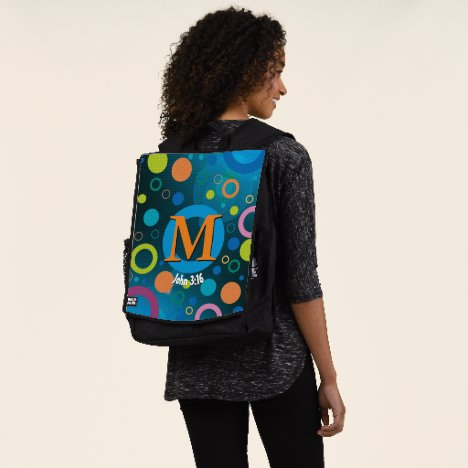 Circles Spots Scripture Monogram BLUE Personalized Backpack