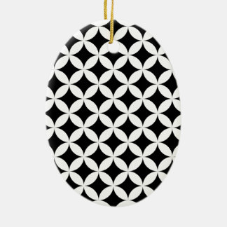 Circles stars black and white design Double-Sided oval ceramic christmas ornament