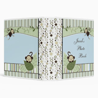 Circles, Stripes, Leaves and Monkey Photo Album 3 Ring Binder