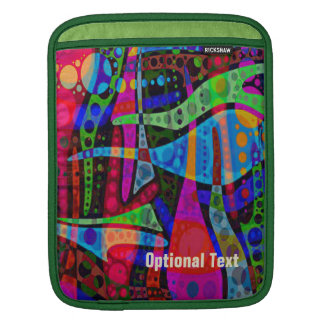 Circles & Swirls Neon Red, Blue & Green - Custom iPad Sleeves