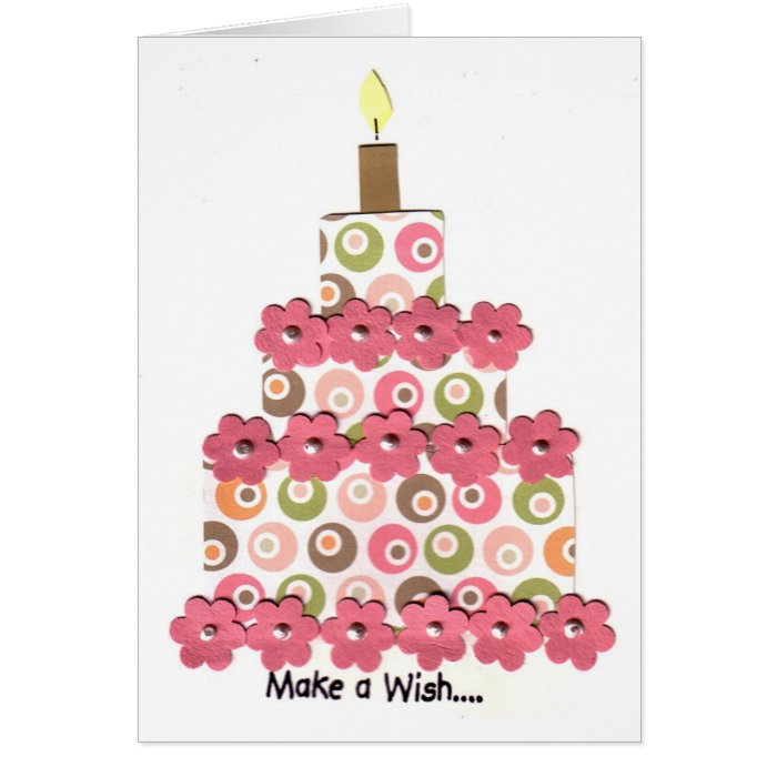 Circles with Pink Flowers Cake Card