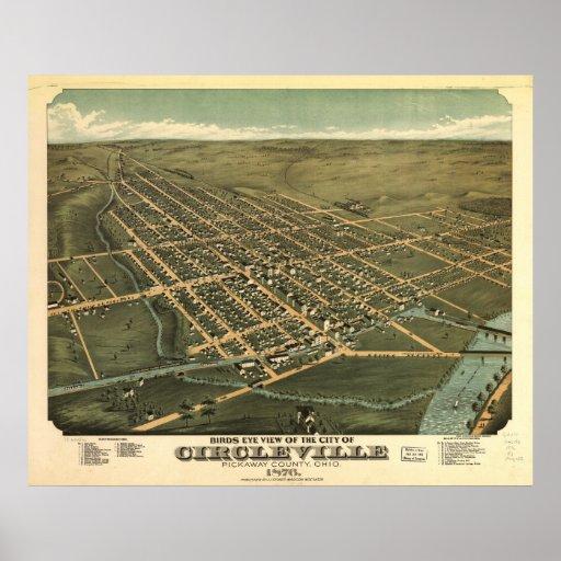Circleville Ohio 1876 Antique Panoramic Map Print