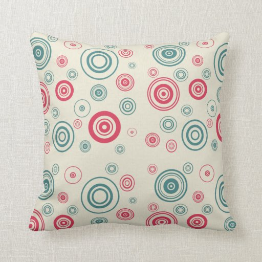 Modern Turquoise Pillows : Circling Red & Turquoise - Modern Pillows Zazzle