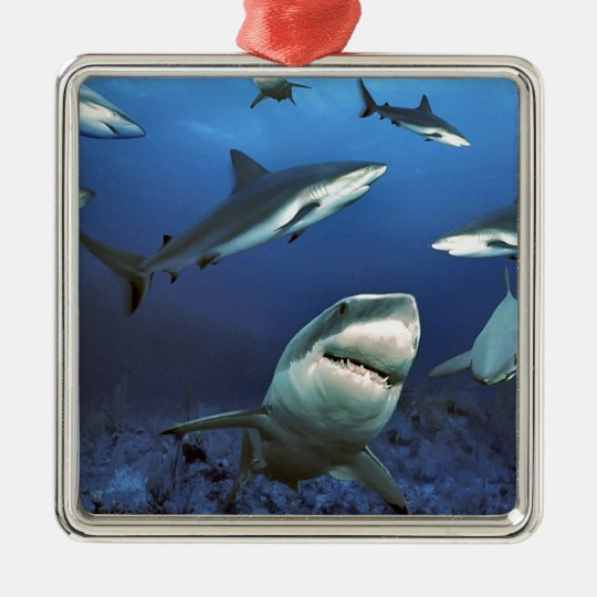 Circling sharks metal ornament