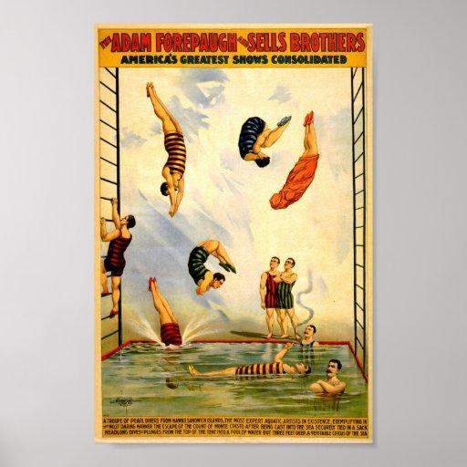 Circo 1898 del vintage de Adán Forepaugh Póster